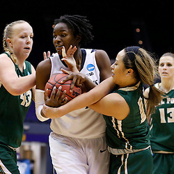 Mar 24, 2013; Baton Rouge, LA, USA; Penn State Lady Lions forward/center Nikki Greene (54) and Cal Poly Mustangs guard Kristen Ale (11) and center Molly Schlemer (43) fight for possession of the ball in the second half during the first round of the 2013 NCAA womens basketball tournament at the Pete Maravich Assembly Center. Penn State defeated Cal Poly 85-55. Mandatory Credit: Derick E. Hingle-USA TODAY Sports