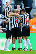 Ayoze Perez (#17) of Newcastle United celebrates Newcastle United's second goal (2-0) with Newcastle United team mates during the Premier League match between Newcastle United and Southampton at St. James's Park, Newcastle, England on 20 April 2019.