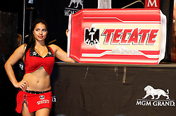 Nov 13, 2009; Las Vegas, NV, USA; Tecate Girls pose at the weigh-in for Manny Pacquiao and Miguel Cotto at the MGM Grand Garden Arena in Las Vegas, NV.  Mandatory Credit: Ed Mulholland