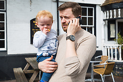 Pub landlord Patrick Trenter, 38, at his pub the George and Dragon in Westerham, Kent, after returning from hospital where he and his one-year-old son George were checked over following a head-on collision whilst driving his classic Jaguar on a country lane, with a Range Rover carrying Brexit Party Leader Nigel Farage and colleagues. Westerham, Kent, May 09 2019.