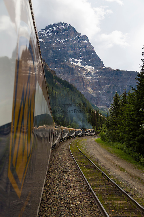Rocky Mountaineer is a Canadian tour company that operates trains on four rail routes through British Columbia and Alberta.  Pictured here is the route from Kamloops, British Columbia to Banff, Alberta, Canada