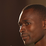 David Rudisha, Kenya, who broke his own World Record in winning the Men's 800m at the 2012 Olympics, at the Adidas Grand Prix Press Conference, Hyatt Grand Central, New York ahead of the Adidas Grand Prix at Icahn Stadium, Randall's Island. Manhattan, New York. 24th May 2012. Photo Tim Clayton