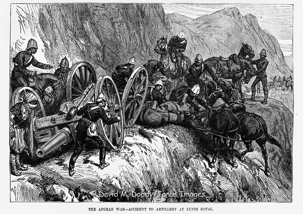 British War in Afghanistan 1879 horse-drawn Artillery accident in the mountain roads at Lundi Kotal  in the Khyber Pass. Harper's Weekly March 8, 1879