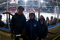 KELOWNA, CANADA - FEBRUARY 23:  Young Kelowna Rockets fans watch warm up against the Kamloops Blazers on February 23, 2019 at Prospera Place in Kelowna, British Columbia, Canada.  (Photo by Marissa Baecker/Shoot the Breeze)