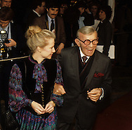 George Burns arriving at a 20th Century Fox Dinner during the visit of Queen Elizabeth II to California in March 1983...Photograph by Dennis Brack bb23