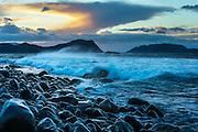 Strong wind, waves and a nice afternoon sky at the seashore. Slightly paint effect is added in Photoshop | Sterk vind, bølger og en pen ettermiddagshimmel i fjæra. En anelse malerisk effekt er lagt til i Photoshop.