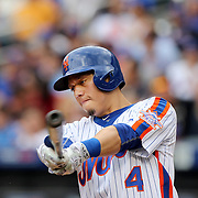 NEW YORK, NEW YORK - July 10: Wilmer Flores #4 of the New York Mets preparing to bat during the Washington Nationals Vs New York Mets regular season MLB game at Citi Field on July 10, 2016 in New York City. (Photo by Tim Clayton/Corbis via Getty Images)