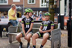 Sara Mustonen and Riejanne Markus (Liv Plantur) find a place to rest whilst waiting for the start of the 116 km Stage 5 of the Boels Ladies Tour 2016 on 3rd September 2016 in Tiel, Netherlands. (Photo by Sean Robinson/Velofocus).