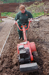 Woman with Downs Syndrome at work on community garden project using rotavator,