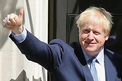 © Licensed to London News Pictures. 06/08/2019. London, UK. British Prime Minister BORIS JOHNSON on the steps of no 10 Downing Street.  Photo credit: Dinendra Haria/LNP