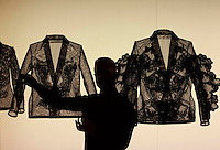 Mal Burkinshaw holding one of his seven lace jackets.<br /> The results of an unique collaboration between fashion designers, artist, curators and art historians, established to investigate and challenge contemporary notions of beauty display in The Scottish National Portrait Gallery this week. Pako Mera 14/11/2014