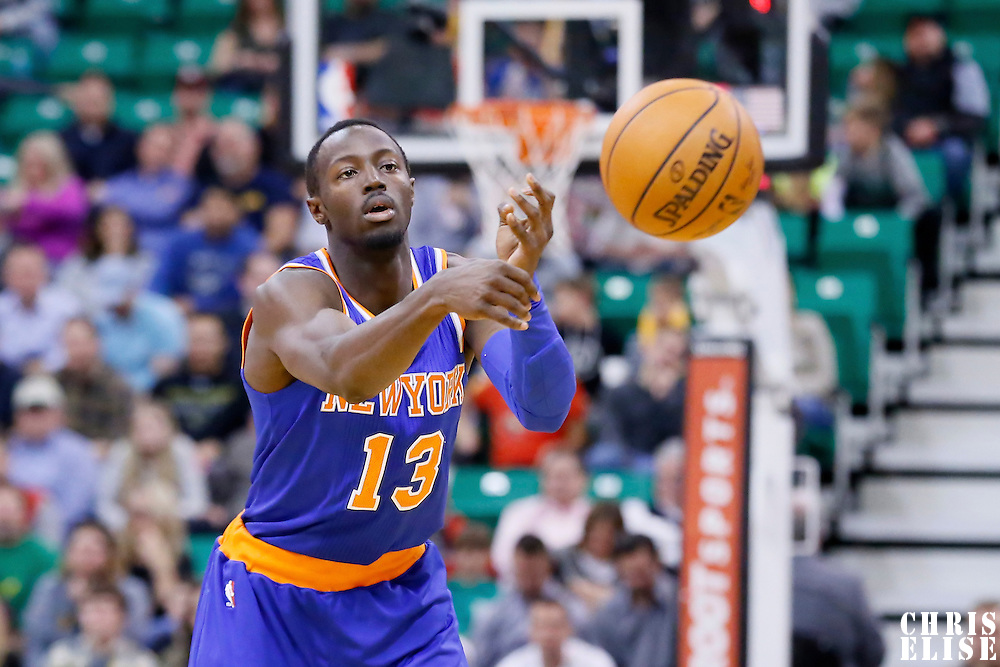 09 December 2015: New York Knicks guard Jerian Grant (13) passes the ball during the Utah Jazz 106-85 victory over the New York Knicks, at the Vivint Smart Home Arena, Salt Lake City, Utah, USA.