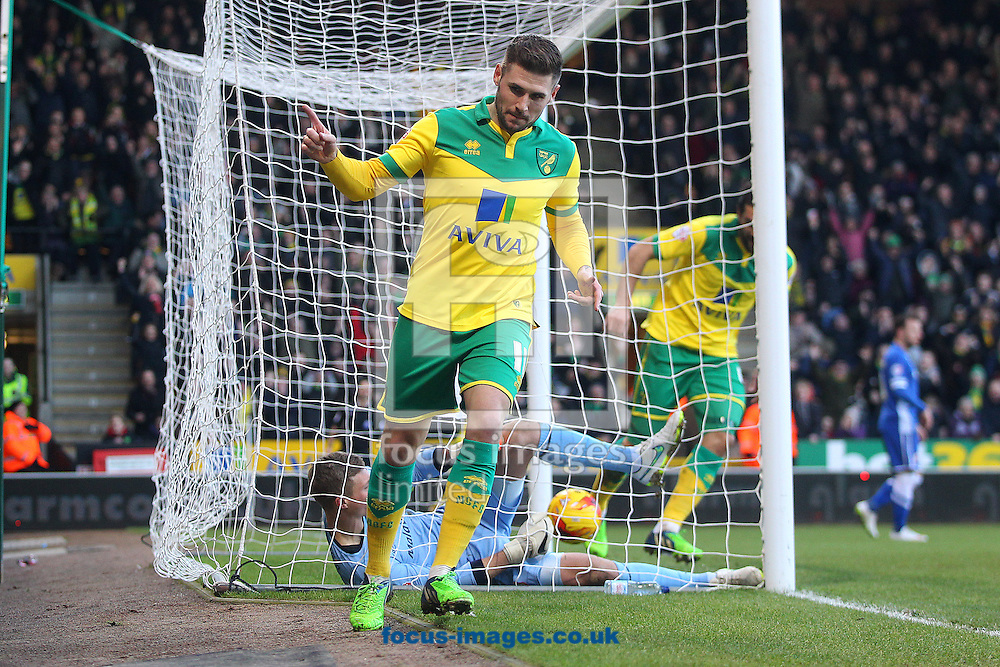 Gary Hooper of Norwich celebrates scoring his sides 1st goal during the Sky Bet Championship match at Carrow Road, Norwich<br /> Picture by Paul Chesterton/Focus Images Ltd +44 7904 640267<br /> 17/01/2015