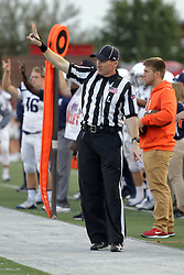 02 September 2017:   Bill Foltz point to the spot and signals 2nd down during the Butler Bulldogs at  Illinois State Redbirds Football game at Hancock Stadium in Normal IL (Photo by Alan Look)