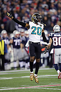 Jacksonville Jaguars cornerback Jalen Ramsey (20) leaps, points, and celebrates after the Jaguars recover a New England Patriots fumble at their own 33 yard line on a fourth quarter double pass play during the AFC Championship NFL playoff football game against the New England Patriots Patriots, Sunday, Jan. 21, 2018 in Foxborough, Mass. The Patriots won the game 24-20. (©Paul Anthony Spinelli)