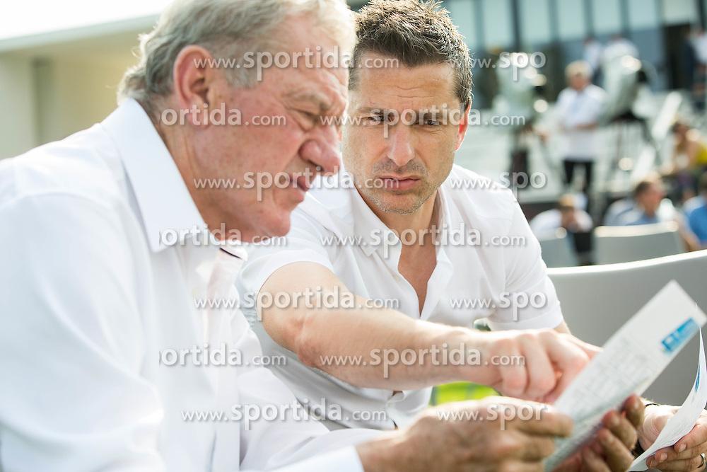 Milan Mandaric, president of Olimpija and Borut Arlic, director of Olimpija  during NZS Draw for season 2016/17, on June 24, 2016 in Brdo pri Kranju, Slovenia. Photo by Vid Ponikvar / Sportida