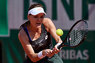 Paris, France - 2017 June 01: Agnieszka Radwanska from Poland plays a backhand during her women's single match second round during tennis Grand Slam tournament The French Open 2017 (also called Roland Garros) at Stade Roland Garros on June 01, 2017 in Paris, France.<br /> <br /> Mandatory credit:<br /> Photo by © Adam Nurkiewicz<br /> <br /> Adam Nurkiewicz declares that he has no rights to the image of people at the photographs of his authorship.<br /> <br /> Picture also available in RAW (NEF) or TIFF format on special request.<br /> <br /> Any editorial, commercial or promotional use requires written permission from the author of image.
