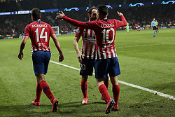February 20, 2019 - Madrid, Madrid, Spain - Atletico de Madrid's Juanfran Torres and Angel Martin Correa celebrate goal during UEFA Champions League match, Round of 16, 1st leg between Atletico de Madrid and Juventus at Wanda Metropolitano Stadium in Madrid, Spain. February 20, 2019. (Credit Image: © A. Ware/NurPhoto via ZUMA Press)