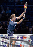 Tennis - 2017 Nitto ATP Finals at The O2 - Day Eight<br /> <br /> Mens Doubles: Final : Henri Kontinen (Finland) & John Peers (Australia) Vs Lukasz Kubot (Poland) & Marcelo Melo (Brazil) <br /> <br /> Henri Kontinen (Finland) with a high souble handed smash at the O2 Arena<br /> <br /> COLORSPORT/DANIEL BEARHAM