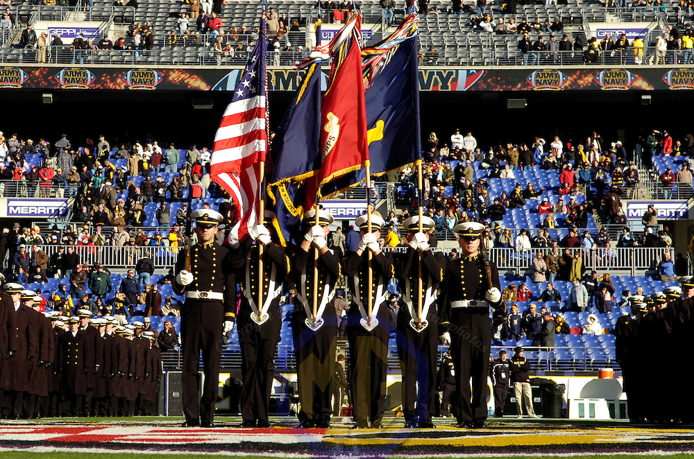 01 December 2007:   Navy Midshipmen march on to the field prior to the game against the Army Cadets on December 1, 2007 in the 108th meeting of the teams at M&T Bank Stadium in Baltimore, Maryland.