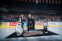 KELOWNA, CANADA - JANUARY 10: Kelowna Rockets President and General Manager, Bruce Hamilton stands  during a celebration of Team Canada gold at the World Junior Hockey Championship on January 10, 2015 at Prospera Place in Kelowna, British Columbia, Canada.  (Photo by Marissa Baecker/Shoot the Breeze)  *** Local Caption *** Bruce Hamilton;