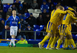 LIVERPOOL, ENGLAND - Thursday, December 17, 2009: Everton's Tony Hibbert looks dejected after conceding an FC BATE Borisov goal during the UEFA Europa League Group I match at Goodison Park. (Pic by David Rawcliffe/Propaganda)