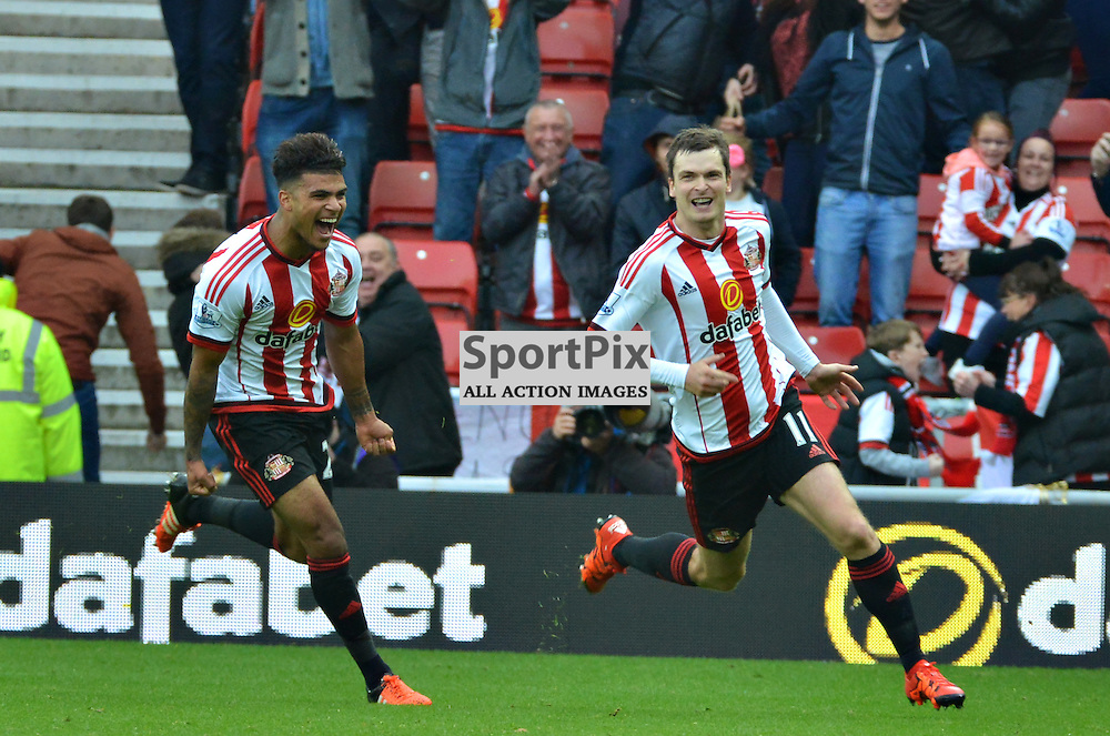 Sunderland penalty scorer Adam Johnson is joined in celebrations by team mate Yann M'Villa......(c) BILLY WHITE | SportPix.org.uk