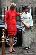 De Japanse prins Akishino , prinses Kiko Prins Constantijn en Prinses Laurentien komen aan op het binnenhof<br /> <br /> Op de foto: prinses Kiko en Prinses Laurentien