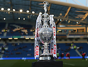 the SkyBet Championship trophy on display at the Amex during the Sky Bet Championship match between Brighton and Hove Albion and Bournemouth at the American Express Community Stadium, Brighton and Hove, England on 10 April 2015.