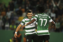 October 22, 2017 - Lisbon, Portugal - Sporting's midfielder Acuna (L) celebrates with Sporting's midfielder Gelson Martins after scoring a goal during the Portuguese League  football match between Sporting CP and Chaves at Jose Alvalade  Stadium in Lisbon on October 22, 2017. (Credit Image: © Carlos Costa/NurPhoto via ZUMA Press)