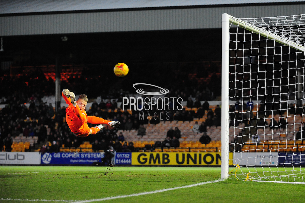 Daniel Bentley of Southend United hurls himself spectacularly at Louis Dodds' second half effort during the Sky Bet League 1 match between Port Vale and Southend United at Vale Park, Burslem, England on 26 February 2016. Photo by Mike Sheridan.