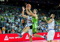 Kostas Kaimakoglou of Greece vs Zoran Dragic of Slovenia during basketball match between Slovenia vs Greece at Day 5 in Group C of FIBA Europe Eurobasket 2015, on September 9, 2015, in Arena Zagreb, Croatia. Photo by Vid Ponikvar / Sportida