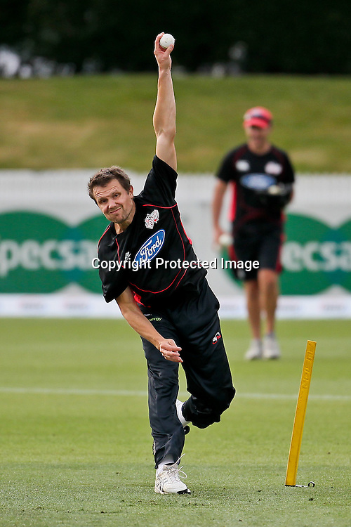 Canterbury Wizard's Australian import Dirk Nannes warms up ahead of the HRV Cup match - Northern Knights v Canterbury Wizards, Seddon Park, Hamilton.  30 November 2012.  Photo:  Bruce Lim / photosport.co.nz