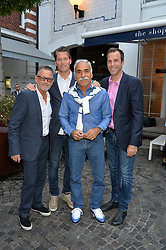 ?, Thomas Enquist, Mansour Bahrami and Greg Rusedski at the Aspall Tennis Classic Players Party hosted by Aspall and Taylor Morris Eyewear at Bluebird, 350 King's Road, Chelsea, London England. 28 June 2017.<br /> Photo by Dominic O'Neill/SilverHub 0203 174 1069/ 07711972644 - Editors@silverhubmedia.com
