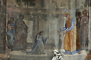 Presentation of the Virgin in the temple, detail of a fresco by Charles Soulacroix, 1825-99, in the third apse chapel, in the Basilique Notre-Dame-de-l'Immaculee-Conception or Basilica of Notre-Dame de Boulogne, a Roman Catholic cathedral built 1827-63 in Neoclassical style by Benoit-Agathon Haffreingue, in Boulogne, Pas de Calais, France. The fresco depicts a young Virgin holding a candle and wearing a crown of flowers, greeted by the high priest and Levis. St Anne and St Joachim are on the left. Charles Soulacroix, a sculptor, was commissioned in 1863-65 by Haffreingue to decorate the 6 apse chapels, these being his first frescoes. The cathedral is listed as a national monument. Picture by Manuel Cohen