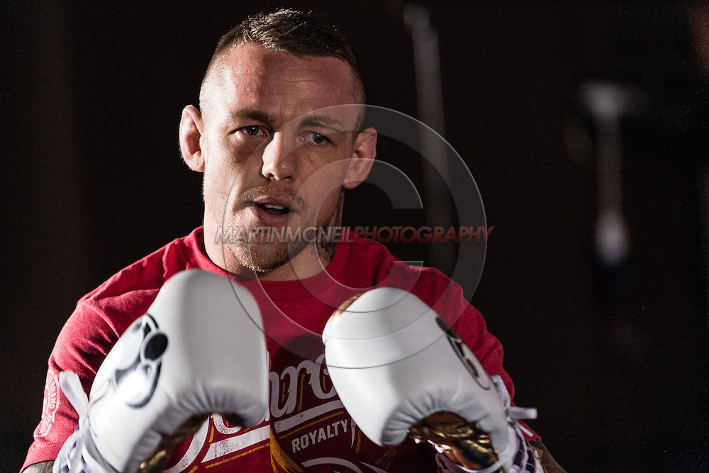 "MANCHESTER, ENGLAND, NOVEMBER 23, 2013: Ross Pearson is pictured at the media open work-out sessions for ""UFC Fight Night 30: Machida vs. Munoz"" inside Bierkeller Shooter's Sports Bar in The Printworks, Manchester (Martin McNeil for ESPN)"