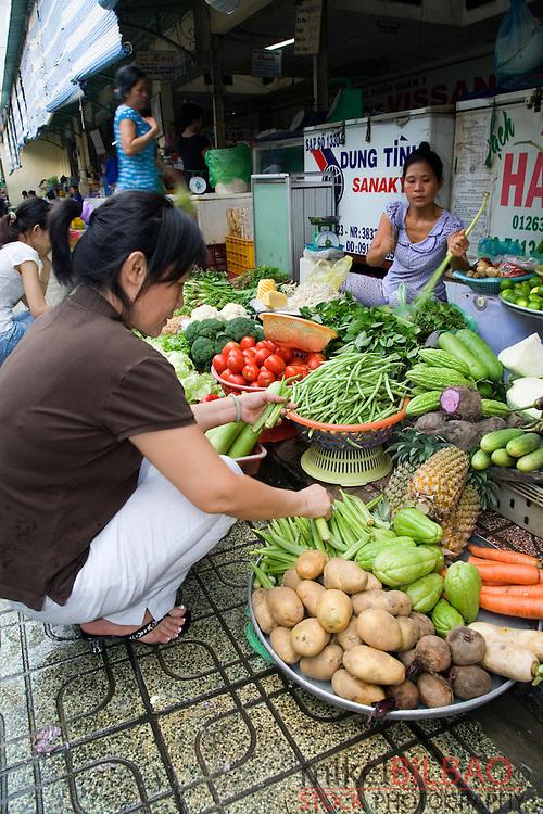 food market stall. Saigon o Ho Chi Minh City. Vietnam, Asia.
