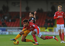 James Meredith of Bradford City is brought to the ground by Darnell Furlong of Swindon Town- Mandatory by-line: Nizaam Jones/JMP - 26/11/2016 - FOOTBALL - County Ground - Swindon, England - Swindon Town v Bradford City - Sky Bet League One