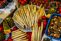 White asparagus for sale at street market on Rue Cler, Paris, France.
