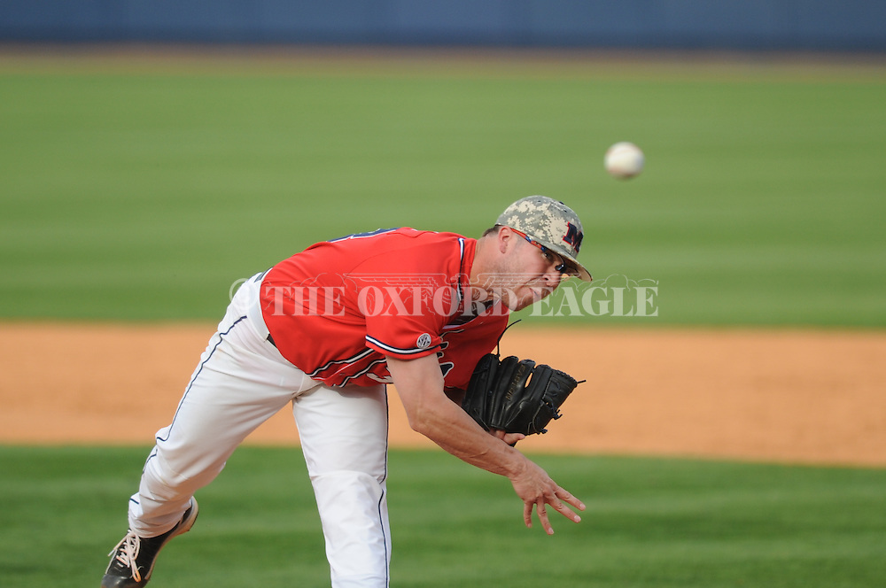 Ole Miss' Brett Huber (38) pitches vs. Vanderbilt at Oxford-University Stadium Stadium in Oxford, Miss. on Sunday, April 7, 2013. Vanderbilt won 7-6 in 11 innings.