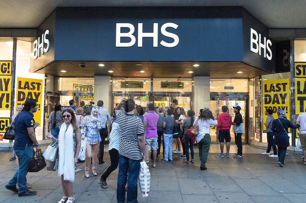 © Licensed to London News Pictures. 13/08/2016. Shoppers outside British Homes Stores Oxford Street Flagship store as it closes on its last day of trading. London, UK. Photo credit: Ray Tang/LNP