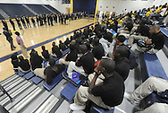 Atlanta - August 7, 2013: African American male students listen to former Atlanta Mayor Andrew Young speak to them on the first day of school at B.E.S.T Academy (Business Engineering Science Technology) on Wednesday, August  7, 2013.  Over 80 members of the 100 Black Men of Atlanta greeted the boys and their parents as they arrived at school.  The boys were inspired by former Atlanta Mayor Andrew Young to become leaders in their community.  Young spoke to boys in the middle school and high School.  The school is an all male school.  Today was the first day back to school for students in Atlanta. ©2012 Johnny Crawford