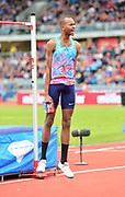 Mutaz Essa Barshim (QAT) celebrates after winning the high jump at 7-10½ (2.40m) during the Grand Prix Birmingham in an IAAF Diamond League meet at Alexander Stadium in Birmingham, United Kingdom on Sunday, August 20, 2017. (Jiro Mochizuki/Image of Sport)