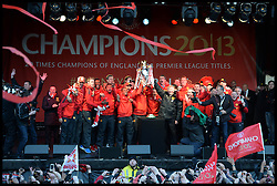 Sir Alex Ferguson addresses fans  in Albert Square, Manchester,  As Manchester United celebrate winning their 20th league title winning the Premier League, Monday May 13, 2013. Photo by: Andrew Parsons / i-Images