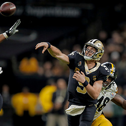 Dec 23, 2018; New Orleans, LA, USA; New Orleans Saints quarterback Drew Brees (9) throws against the Pittsburgh Steelers during the fourth quarter at the Mercedes-Benz Superdome. Mandatory Credit: Derick E. Hingle-USA TODAY Sports