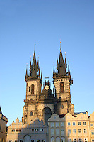 Evening sunlight on colourful buildings at at Old Town Square in Prague<br />