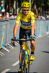 Versailles, France - Tour de France :: Stage 21 - 21th July 2013 - Chris FROOME (Sky Pro Cycling) with yellow jersey and bike