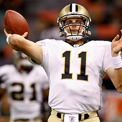 August 21, 2010; New Orleans, LA, USA; New Orleans Saints quarterback Patrick Ramsey (11) during warm ups prior to kickoff of a preseason game against the Houston Texans at the Louisiana Superdome. Mandatory Credit: Derick E. Hingle
