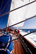 Sailing  onboard Adela during the Antigua Superyacht Challenge, race four.