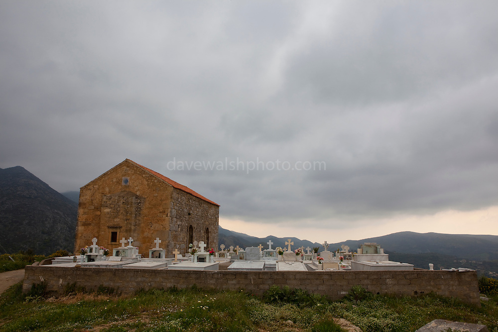 """Church at the ancient Hellenic city of Polyrinia, Crete. The place name means """"many sheep"""" and it was the most fortified city in ancient Crete."""